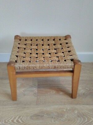 Good quality vintage retro beech foot stool with woven top