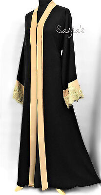 Dubai Nidha Open Jacket Abaya with Gold detail on Sleeves