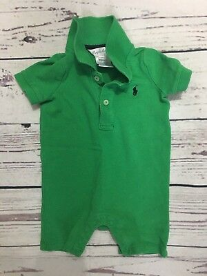 Ralph Lauren Polo Baby Boy's Preppy Button Short Sleeve Logo Romper 6 Months