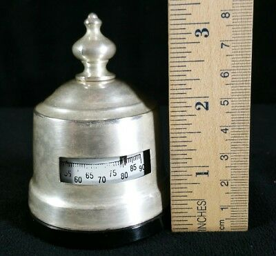 "Small Vintage Thermometer Marked Sterling Silver & Working 2.5"" Wide x 3"" Tall"
