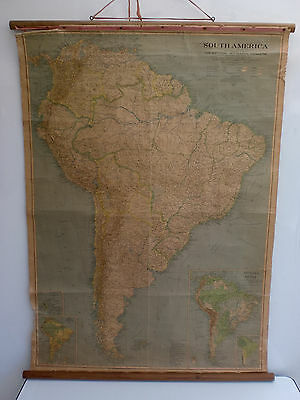 Original Antique Vintage 1937 National Geographic Map of South America
