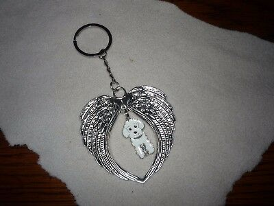 White Poodle Key Chain