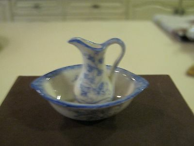 Dollshouse 1/12th.Scale Jug and Bowl for Bedroom or Dressing Room.Ex. Cond.