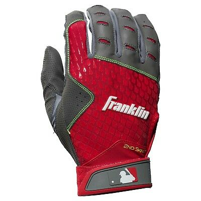 Franklin Adult 2nd Skinz Batting Gloves - Pair - Grey/Red