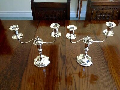 Pair Mappin & Webb Antique English Sterling Silver Candelabras 1928