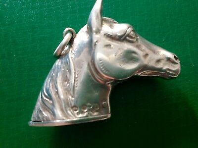 Novelty Victorian 1884 Antique English Sterling Silver Horse's Head Vesta HBS