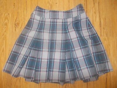 Parker - Girls Skirt School Uniform Blue White Red Gray Plaid Pleated - size 8