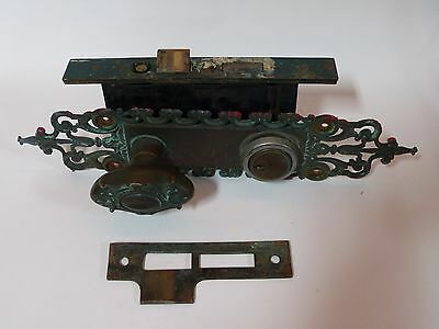 Early 20th Century YALE Entry Exterior Door Lock Set Cast Brass Knobs Plates Y&T
