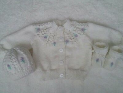 Hand Knitted Baby 3 Piece Set.. White/ Lilac Emb .newborn