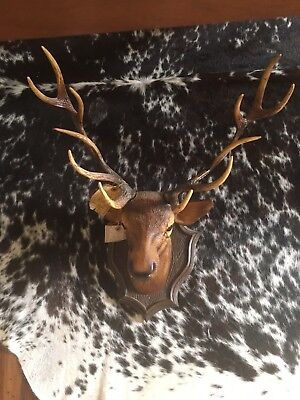 French vintage stag/deer head wall mount  faux taxidermy cabin hunting