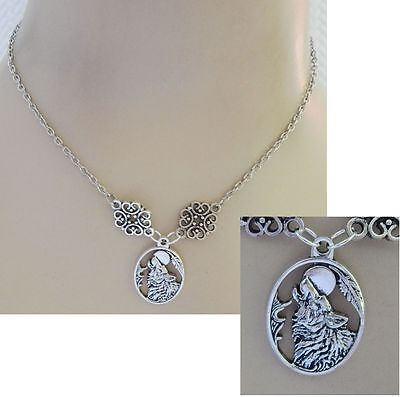 Silver Wolf & Moon Pendant Necklace Jewelry Handmade NEW Adjustable Fashion