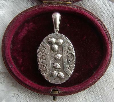 Victorian H/M 1885 Sterling SILVER Pendant Photo Locket with Applique Leaves