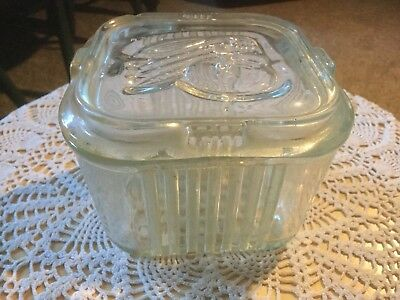 "Vintage Glass Refrigerator Container, with Veg's on top.NO CHIPS,  4.25"" x 2.75H"