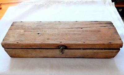 Antique Wooden Box, Primitive Wooden Antique,15 X 4 1/2 in, Hinged Lid, Good