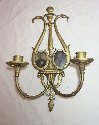 antique 1800's ornate gilt bronze wall candle holder sconce picture frame brass