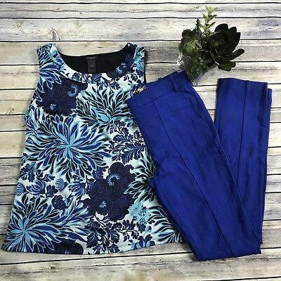 2 Pcs Womens Clothing Lot Ann Taylor Top Small, Lord And Taylor Blue Pants Size0