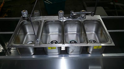 Large 4 Compartment Sink  Ready To Install, Drop-In , Food Truck Or Trailer Nsf