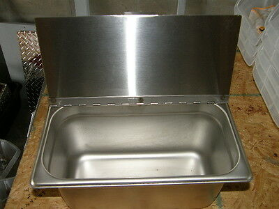 "1/3 SIZE FOOD PAN 6"" DEEP WITH STAINLESS 18ga HINGED LID STAINLESS STEEL"