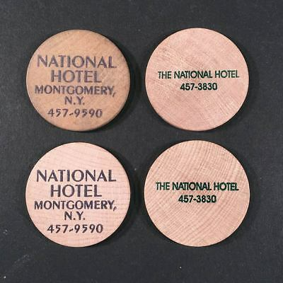 Montgomery NY: Group of 4 Misc. NATIONAL HOTEL Clinton St. Wooden Nickels Tokens