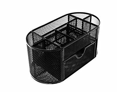 Mesh Desk Organizer Caddy For Office Supplies And Accessories - Black NEW