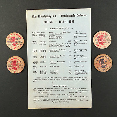 Montgomery NY: 1959 Sesquicentennial Lot of 4 Wooden Nickels, Event Schedule