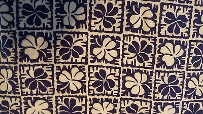 2 Vintage Printed Flour Feed Sacks, Quilt Fabric Material, Navy White Clover