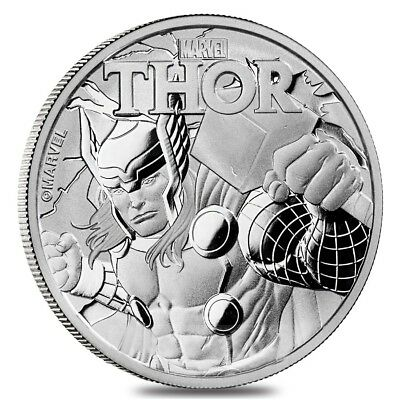 2018 Tuvalu Marvel Series Thor 1 oz .9999 Silver Round Bullion BU Capsuled Coin
