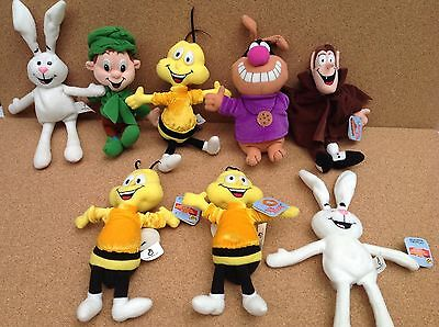 General Mills 1998 Breakfast Pals Plush Characters Rabbit Bee Lucky Count Cookie