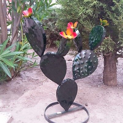 Metal Garden Yard Art - Flowering Prickly Pear Metal Cactus Plant 17 inches Tall