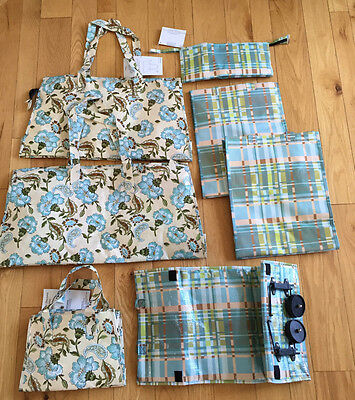 QVC VALERIE Floral & Plaid Reusable Totes 7 Piece Set Weekender Rolling Travel