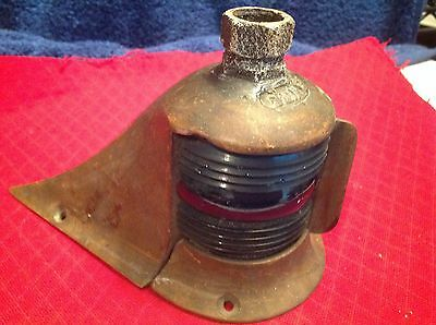 1920's Dee Wite BOW LIGHT, Green, No Red Glass Fresnel Lens, Brass,