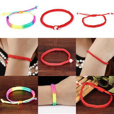 Men Women Braided Chinese Feng Shui Red Lucky String Rope Cord Bracelet Jewelry