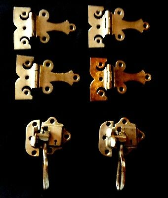 Antique Vintage Ice Box Hardware Hinges Latch Keeper Set #1