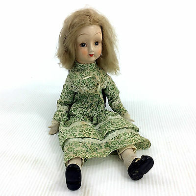 Vintage Porcelain Doll Hand Painted Head & Limbs Plush Body Green Dress Girl