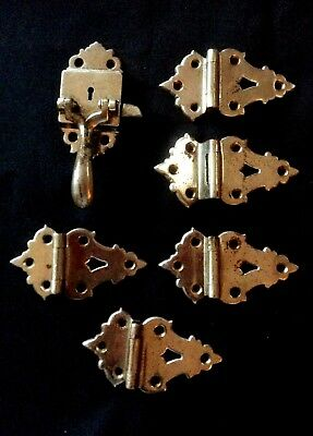 Antique Vintage Ice Box Hardware Set of 5 Nickel Plated Hinges & Latch Set #4