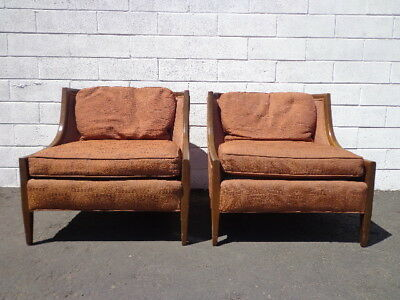 Pair of Chairs Vintage Lounge Armchair Wood Set Seating Slipper French Regency