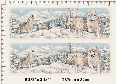2 x Waterslide ceramic decals Decoupage White snow wolves Animals Mug wraps P11
