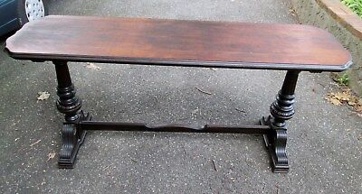 Antique Trestle Table Arched Edges Carved Legs Dark Wood Dining / Serving