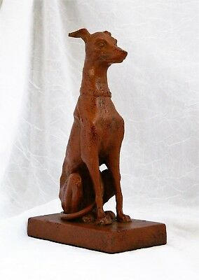 """~ Heavy Cast Metal Cold Painted ART DECO GREYHOUND Statue 7 - 8"""" / 4 - 5 lbs  ~"""