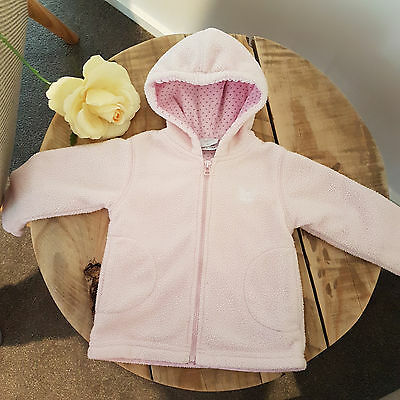 Baby Girl Pink Hooded Lined Winter Jacket Coat Papoose Layette Size 00 Fleece