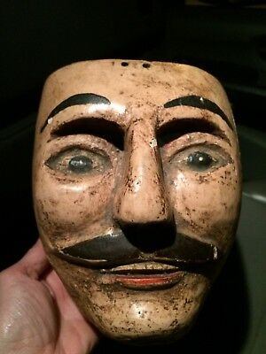 Vintage Guatemalan Mexicano Charro Hand Carved  Hand Painted Mask