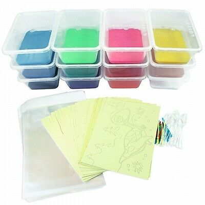 Sand Art Kids Party Kit: 32 Med Cards 12 colours + 1 Glow In Dark & 13 themes