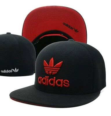 Embroidered Adidas Trefoil Snapback Flat Cap Black   Red  One Size Fits Most a81c505c19f9