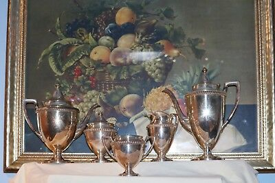Queen Ann Style Tea Service, Five Pieces, Silver Plated, Crescent Silver Co.