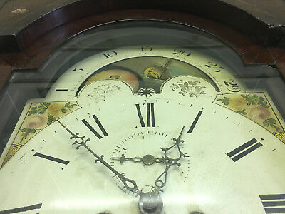 Antique Rolling Moon Grandfather Longcase Clock. With a Naval element.