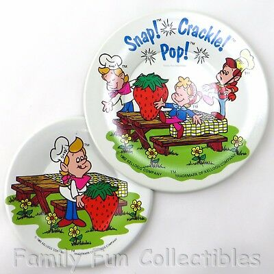 KELLOGG~1983 Rice Krispies Childs Dishes~Snap Crackle Pop~Childrens Metal Plates