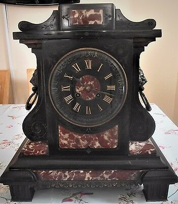 """"""" Antique French Japy Freres  Mantle Clock,  Circa 1840-1850  Marble And Slate"""
