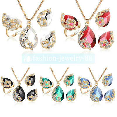 Women's Jewelry Set Gold Plated Peacock Crystal Rhinestone Necklace Earrings