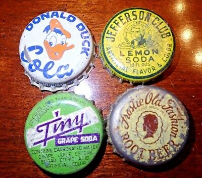 4 VIntage Soda Bottle Caps - Donald Duck,Jefferson Club,Tiny,Frostie Old Fashion