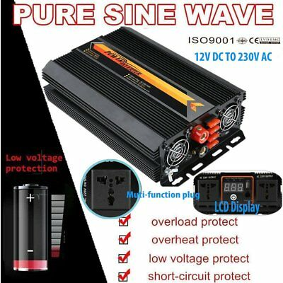 Power Voltage Converter DC 12V to AC 240V 3000W Inverter LCD Display  YFR